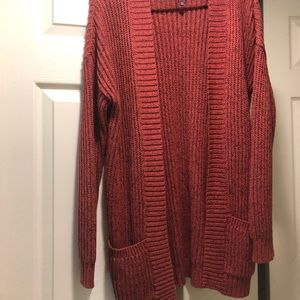 Red Orange knit cardigan long